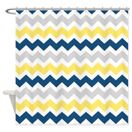 yellow blue grey chevron stripes shower curtain by