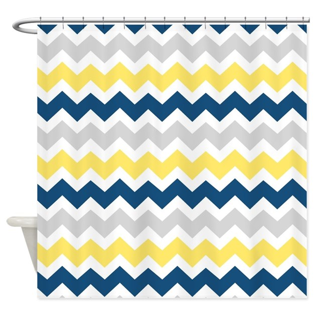 Yellow Blue Grey Chevron Stripes Shower Curtain By Dreamingmindcards