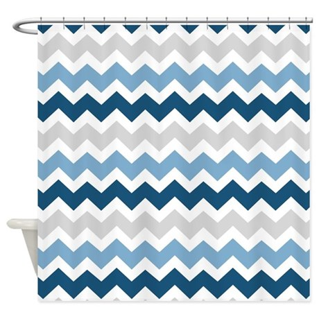 Navy Blue Grey White Chevron Shower Curtain By Dreamingmindcards