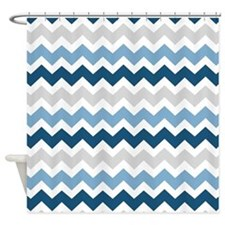 Navy Blue Grey White Chevron Shower Curtain