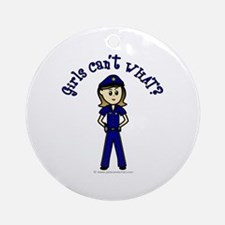 Light Police Woman Ornament (Round)