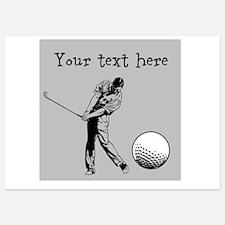 Customizable Golfer and Golf Ball Invitations
