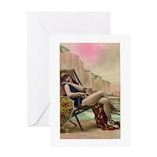 Vintage Swimsuit Pinup Girl Greeting Card