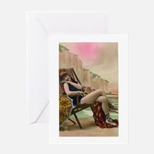 Vintage Swimsuit Pinup Girl Greeting Card
