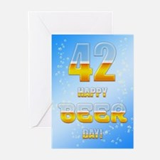 42nd birthday beer Greeting Cards (Pk of 10)