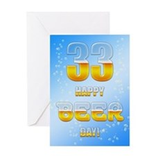 33rd birthday beer Greeting Card