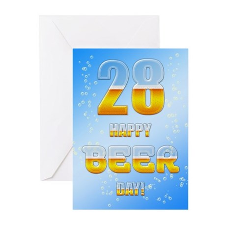 28th birthday beer Greeting Cards (Pk of 10)