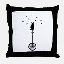 cat on vintage bicycle with birds Throw Pillow