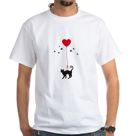 cat flying with red heart balloon and birds T-Shir