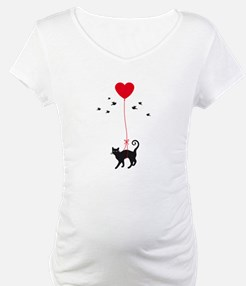 cat flying with red heart balloon and birds Matern