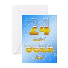 24th birthday beer Greeting Cards (Pk of 10)
