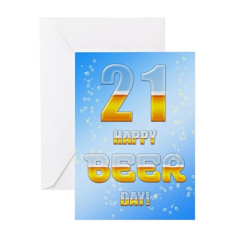 21st birthday beer Greeting Card