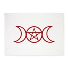 Wiccan Goddess Symbol Red 5'x7'Area Rug