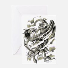 Dragon Phoenix Tattoo Art A4 Greeting Card