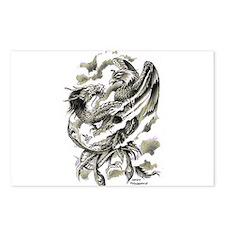 Dragon Phoenix Tattoo Art A4 Postcards (Package of