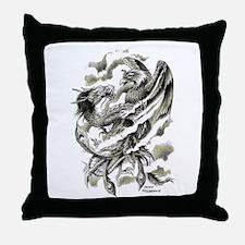 Dragon Phoenix Tattoo Art A4 Throw Pillow