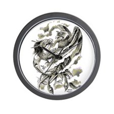 Dragon Phoenix Tattoo Art A4 Wall Clock