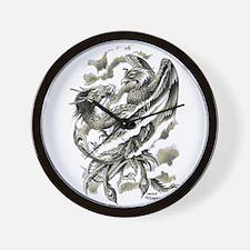 Dragon Phoenix Tattoo Art A4 Wall Clock