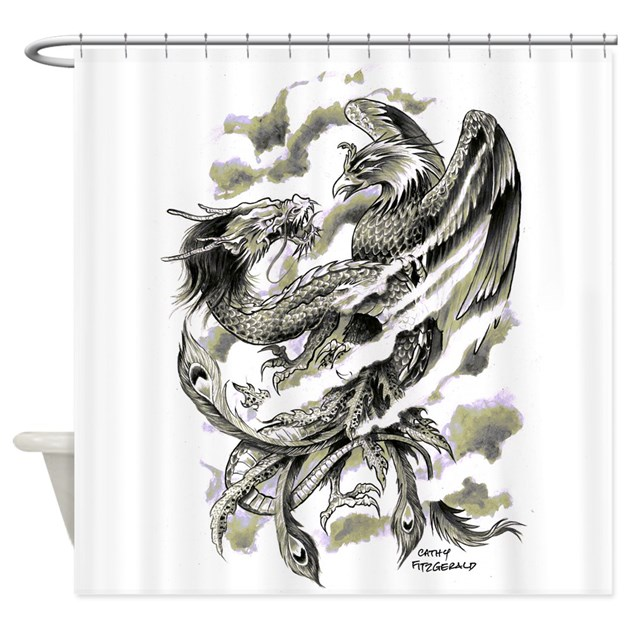 Dragon phoenix tattoo art a4 shower curtain by for How to shower with a new tattoo
