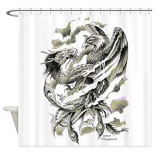 Dragon Phoenix Tattoo Art A4 Shower Curtain