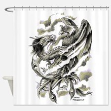 Dragon Phoenix Tattoo Art A4 Shower Curtain