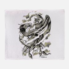 Dragon Phoenix Tattoo Art A4 Throw Blanket