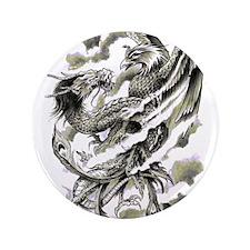 "Dragon Phoenix Tattoo Art A4 3.5"" Button (100 pack"