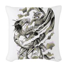 Dragon Phoenix Tattoo Art A4 Woven Throw Pillow