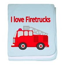 I LOVE FIRETRUCKS baby blanket