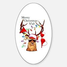 Stag man Christmas Oval Decal