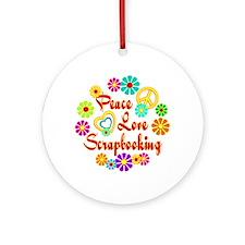 Peace Love Scrapbooking Ornament (Round)