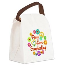 Peace Love Scrapbooking Canvas Lunch Bag