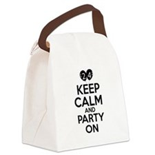 24 , Keep Calm And Party On Canvas Lunch Bag