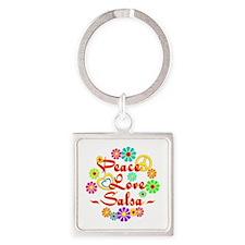 Peace Love Salsa Square Keychain