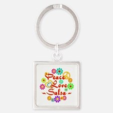 Peace Love Salsa Square Keychain