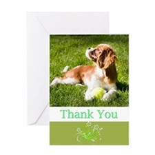 Thank You With Cavalier Puppy Greeting Card