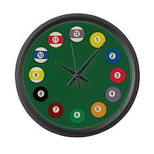 Billard balls Large Wall Clock