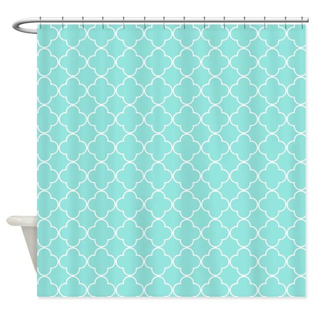 Aqua white quatrefoil shower curtain by dreamingmindcards for Quatrefoil bathroom decor