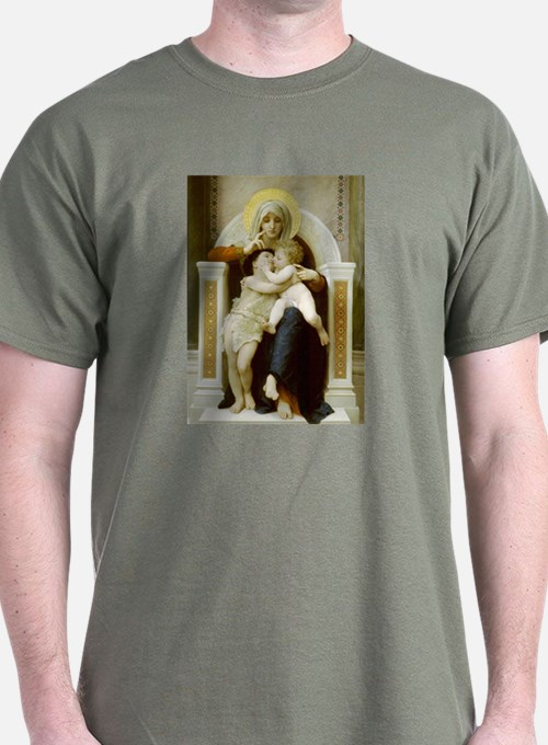 Virgin,Baby Jesus & St John Military Green T-S