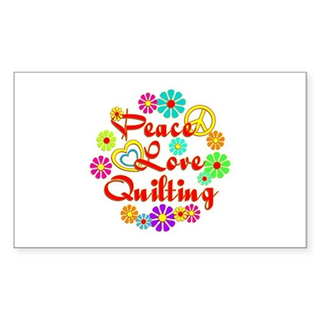 Peace Love Quilting Sticker (Rectangle)