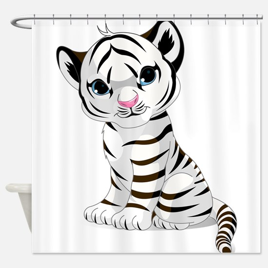 Baby White Tiger Shower Curtain
