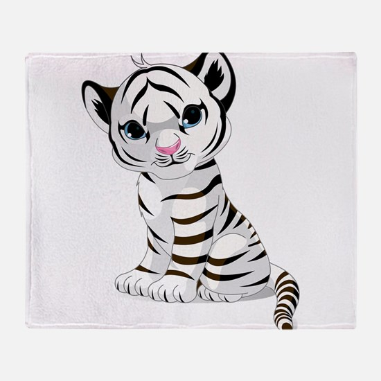 Baby White Tiger Throw Blanket