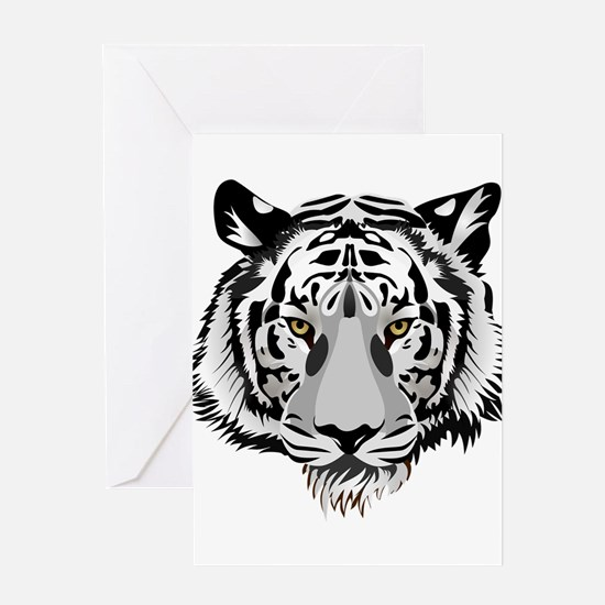 White Tiger Face Greeting Card