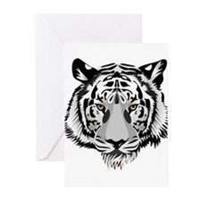 White Tiger Face Greeting Cards (Pk of 10)