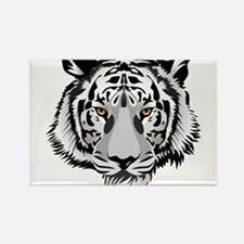 White Tiger Face Rectangle Magnet