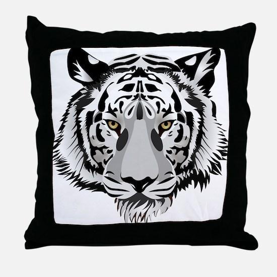 White Tiger Face Throw Pillow