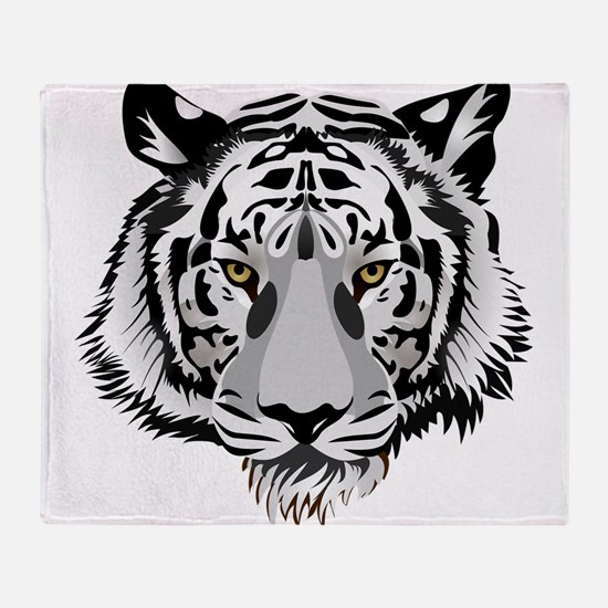 White Tiger Face Throw Blanket