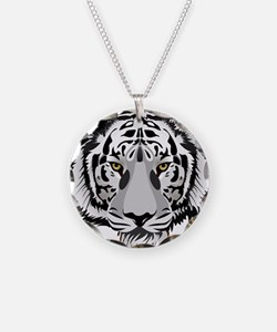 White Tiger Face Necklace