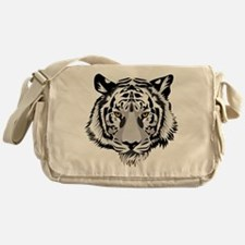 White Tiger Face Messenger Bag