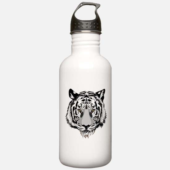 White Tiger Face Water Bottle